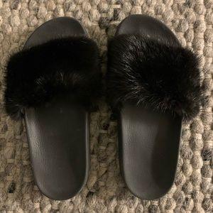 Givenchy black mink flats
